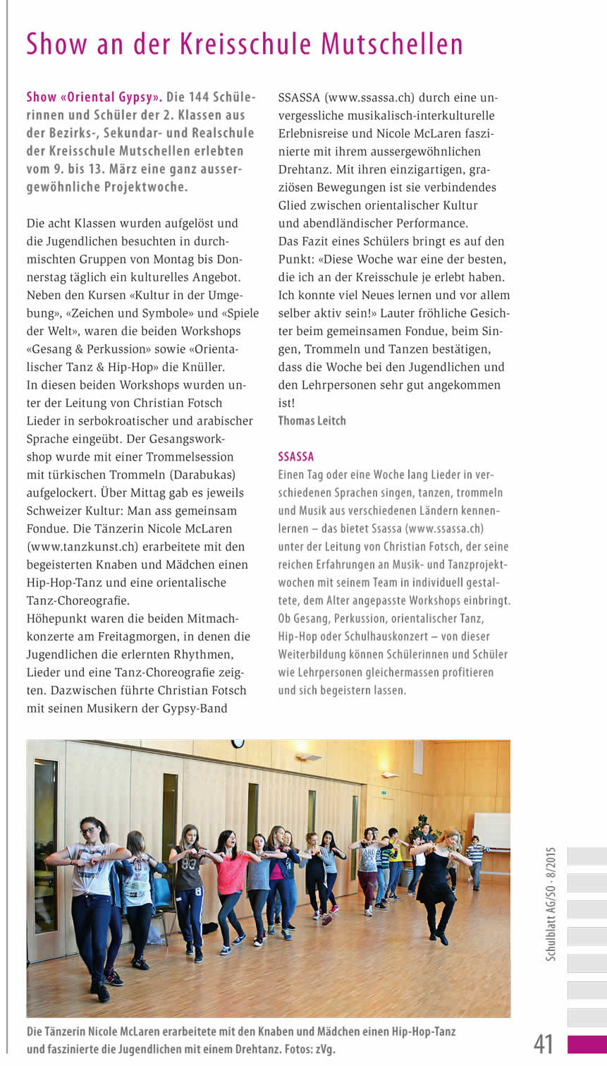 Presseberichte Projektwoche: Ssassa Schulhauskonzert-Projektwoche Berikon 2015
